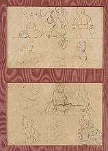 École FLAMANDE du XVIIe siècle Copies d'après des maitres anciens allemands Plume et encre brune 8,5 × 13,4 cm Sur deux feuilles dan...