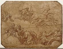 Entourage de Pietro DAMINI (Circa 1592-1631) Apollon et son char d'or Plume et encre brune, lavis brun et violet, rehauts de gouache..
