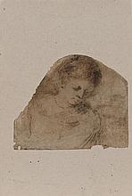 Giovanni Francesco GUERCINO (1591-1666) Femme en buste regardant en bas sur sa gauche Plume et encre brune 17,5 × 21 cm (Doublé, dét...