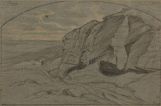 Édouard BERTIN (Paris 1797-1871) Deux paysages d'Italie dont l'un situé près de