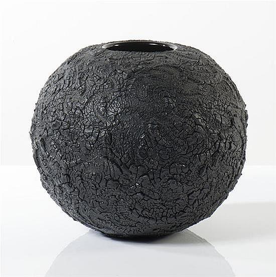 Mieke Groot (née en 1949) - Pays-Bas Vase soufflé à la base hémisphérique à