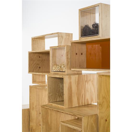 Mameluca cafofo etag re bois pvc et acier carbone cuivr - Peindre etagere bois ...