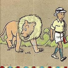 Papier peint / Tintin au Congo. Dessin original (12 x 12 cm) aux pastels de couleur réalisé par les Studios, sous la direction d'Her..