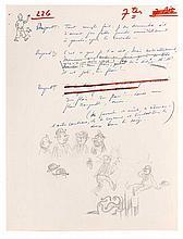 Le Temple du Soleil / Manuscrit et croquis originaux. Dialogues manuscrits et croquis originaux à la mine de plomb d'Hergé sur papie..