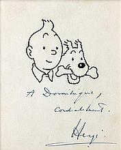 Tintin et Milou en bustes avec envoi. Carte N&B (25,5 x 23 cm) représentant Tintin et Milou en bustes avec envoi d'Hergé