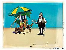 Quick et Flupke / Dessin animé. Un décor en couleur (scène représentant Quick, Flupke et l'agent 15 sur la plage) réalisé à l'aérogr.