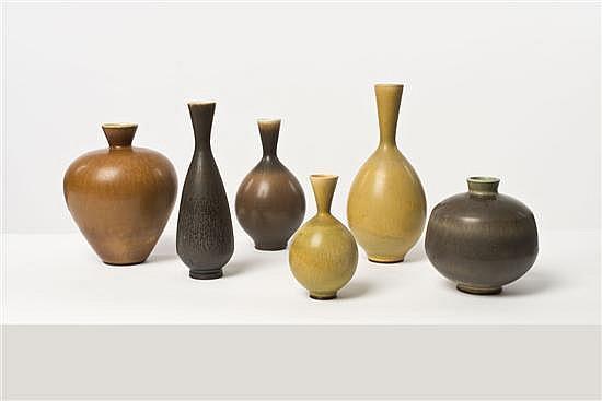 Berndt Friberg (1889-1981) Ensemble de six vases