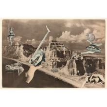 Georges Hugnet (1906-1974) Sans titre, circa 1934 Photomontage-collage laid on a magazine double page Unique piece 12 x 18 in