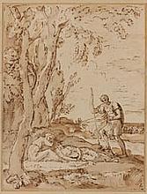 École ITALIENNE du début du XVIIIe siècle Cimon et Iphigénie Plume et encre brune, lavis brun 21 × 16 cm Provenance : peut être anci...