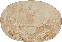 Domenico PIOLA (Gênes 1627-1703) Le Repas du Christ et des pèlerins d'Emmaüs Plume et encre brune sur traits de crayon noir et lavis..