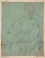 Attribué à Bernardo CASTELLO (Gênes 1557 - 1629) Saint en prière Crayon noir sur papier bleu 21,5×17,5 cm Annoté sur le montage en b...