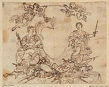 Attribué à Lorenzo BARTOLOTO ? (École ITALIENNE du XVIIe siècle) Projet de frontispice à la gloire militaire Plume et encre brune su...