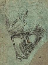 Cristoforo RONCALLI, Il Pomarancio (Pomerance 1552-Rome 1626) Etude de père de l'Eglise dans un écoinçon Crayon noir et estompe sur ..