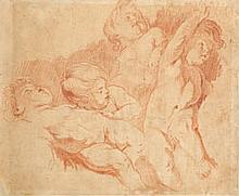 École FRANÇAISE du XVIIIe siècle Etude de putti Sanguine 34×45 cm (Doublé, manques, restauration)