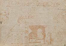 Attribué à Marco MARCHETTI da FAENZA (Faenza 1528-1588) Feuille d'étude : pour les Loges du Vatican ? Plume et encre brune, lavis br..