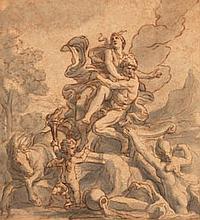 Entourage de Charles LEBRUN L'enlèvement de Proserpine Plume, encre brune, lavis gris 20,5×19,5 cm (Insolé)
