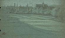 École FLAMANDE de la fin du XVIIe siècle Faubourg de ville Crayon noir et rehauts de craie jaune et blanche sur papier bleu Annotati...