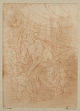 École FRANÇAISE du XVIIe d'après CAMBIASO La Vierge à l'enfant Sanguine 33,5×24,5 cm Annoté en bas à gauche sur le montage Luca Camb.