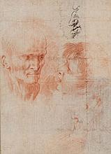 École ITALIENNE du XVIIe siècle (Coldrerio 1612-Rome 1666) Feuille d'étude avec quatre portraits Sanguine, plume et encre brune 17,8...