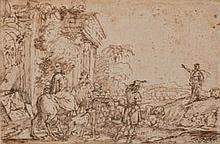 Attribué à Francesco CASTIGLIONE (Gênes 1641-1716) La prédication de saint Jean-Baptiste dans un paysage classique Plume et encre br...