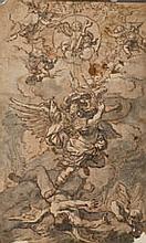 École NAPOLITAINE du XVIIe siècle L'archange saint Michel repoussant les démons Plume et encre brune, lavis gris lavis brun sur trai...
