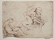 Cornelis SCHUT (Anvers 1597-Borgerhout 1655) Diane découvre la grossesse de Callisto Plume et encre brune et noire 20×26,9 cm de for...