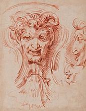 Attribué à Gilles-Marie OPPENORD (Paris 1672-1742) Etude de mascaron avec reprise du profil à droite Sanguine 25,8×20,3 cm (Petites ...