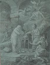 Etienne JEAURAT (Vermeton 1699-Versailles 1789) Scène de sorcellerie Crayon noir et rehauts de craie blanche sur papier bleu 40×31 c...