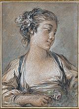 François BOUCHER (Paris 1703-1770) Jeune femme en buste tenant une rose Pastel 21,8×16 cm (Collé sur un montage ancien, légèrement ...
