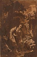 François BOUCHER (Paris 1703-1770) Scène pastorale : une femme tenant un seau Lavis encre brune sur traits de crayon noir 25,4×16,3 ...