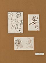 Horace VERNET (Paris 1789-1863) Trois caricatures Plume et encre brune sur traits de crayon noir, lavis brun Dans un même montage 1...