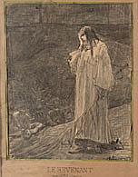 Jean-Paul LAURENS (Fourquevaux 1838-Paris 1920) Le revenant Fusain et rehauts de plume et encre noire  25,5×20,5 cm Signé en bas à d...