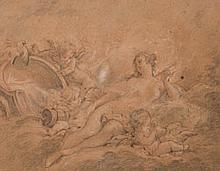 École de François BOUCHER (Paris 1703-1770) Vénus entourée de trois amours Trois crayons 36×42 cm (Petites taches, légèrement insolé...