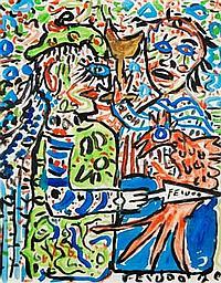 Samuel FEIJÓO (1914-1992) Hortensia a maté le poussin ye le mangé bien sabrosé en viroflé, 1970