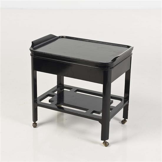 Table roulante rectangulaire en bois noircitravail anglais - Table bois rectangulaire ...