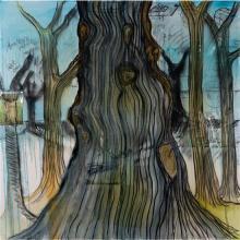 Fabrice Hyber (né en 1961) Bois, 2008-09 Technique mixte, collages punaisés et résine sur toile Signée, datée et titrée au dos...