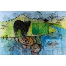 Fabrice Hyber (né en 1961) Ted Ours, 2010 Technique mixte, collages punaisés et résine sur toile Signée, datée et titrée au do...