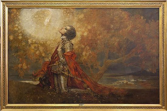 Karel VAN BELLE (Belgique 1884-1954) Jeanne d'Arc en prière, 1920 Huile sur toile Signée et datée en bas à droite 192 x 303 cm Prove..