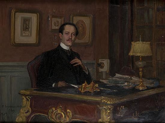 Josey PILLON (1876-?) Maître Bergouhnioux de Wailly à son bureau Huile sur toile Dédicacée et signée en bas à gauche 60,5 x 81 cm