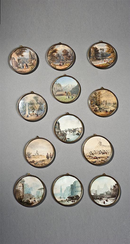 Hedwig CALMELET(Laon 1814 - ?) Quatre miniatures gouachées, figurant des scènes animées de personnages, dans des perspectives de mon...