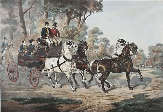 D'après Jules de BONNEMAISON (1809-1865) Promenade au bois de Boulogne et Rendez-vous de chasse Deux lithographies en couleurs forma..