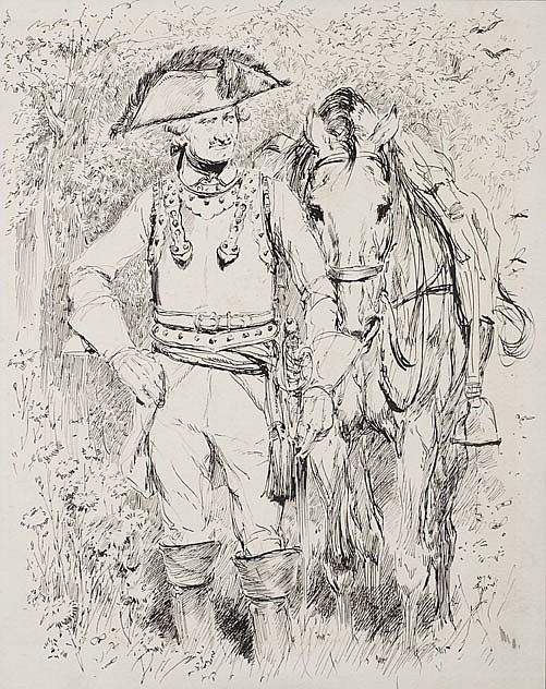 Edouard DETAILLE(1848-1912) Cuirassier et sa monture XVIIIe siècle Dessin à l'encre de Chine Encadré sous verre 23,5 x 19 cm