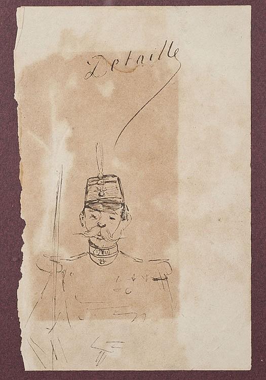 Edouard DETAILLE(1848-1912) Soldats sous la IIIe République Suite de quatre croquis à la plume et au crayon Deux portent le cachet d...
