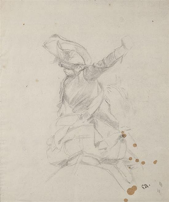 Edouard DETAILLE (1848-1912) Cuirassier Gentilhomme Hussard Suite de trois dessins au crayon noir Deux monogrammés portant le cachet...