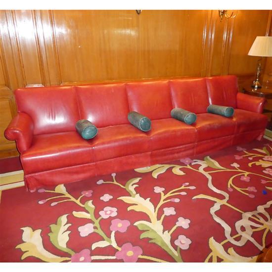 Canap en cuir rouge 84x340x78 cm sofa en piel roja for Canape cuir rouge