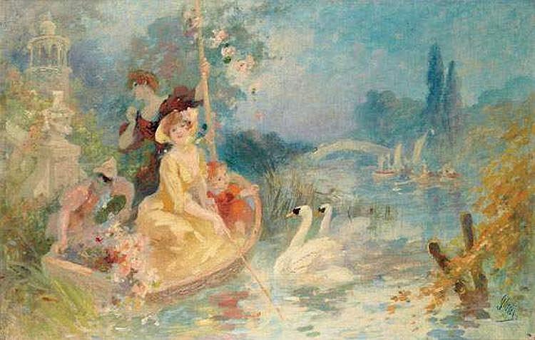 JULES CHERET (1836-1932) - L'EMBARCADERE AUX