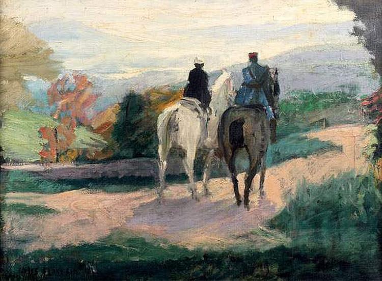 JULES FLANDRIN (1871-1947) - DEUX CAVALIERS EN
