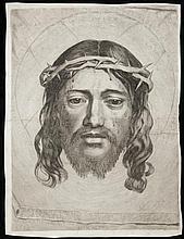 Claude Mellan (1598-1688) La Sainte Face. 1649. Burin. 320 x 423. Préaud 21. Bonne épreuve, soigneusement doublée sur japon mince, a...