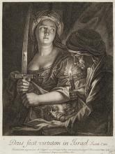 Antoine Coypel (1661-1722) Judith. 1694. Eau-forte originale et burin (terminée par Simonneau). 197 x 260. Le Blanc 2. Belle épreuve...