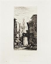 Édouard-Jacques Dufeu (1840-1900) Une rue au Caire ; Rue Souk-el-Selah au Caire. 1865. Eau-forte. Chaque 240 x 320. I.F.F. 1 et 2. T...
